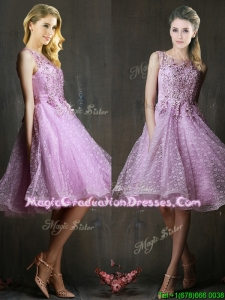 Popular See Through Beaded and Applique Summer Graduation Dress in Lavender