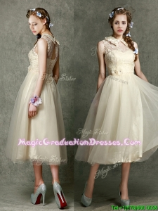 Pretty High Neck Champagne Vintage Graduation Dress with Lace and Hand Made Flowers