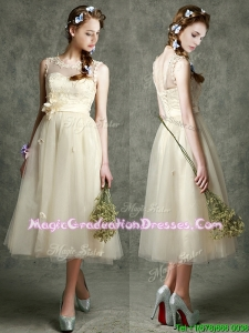 See Through Scoop Champagne Vintage Graduation Dress with Hand Made Flowers and Appliques