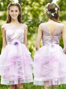 See Through Scoop Short Vintage Graduation Dress with Sashes and Ruffles