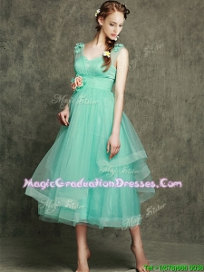 See Through Straps Vintage Graduation Dress with Appliques and Hand Made Flowers