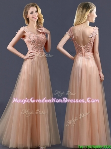 Top Selling V Neck Long Vintage Graduation Dress with Appliques and Beading