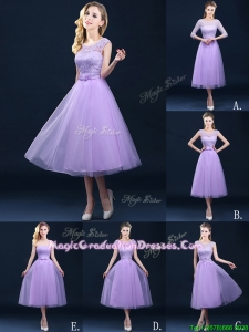 Exclusive A Line Tulle Lavender Vintage Graduation Dress in Tea Length