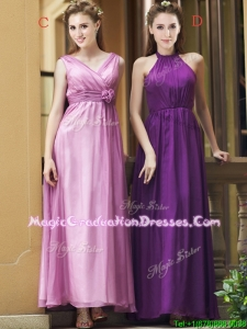 Exclusive Empire Chiffon Ankle Length Vintage Graduation Dress with Ruching