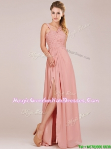 Modern Straps Peach Vintage Graduation Dress with Ruching and High Slit