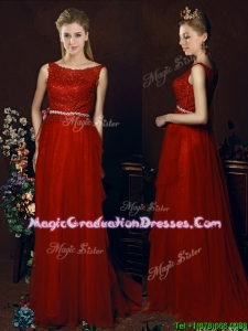 Popular Belted Empire Scoop Red Vintage Graduation Dress with Brush Train