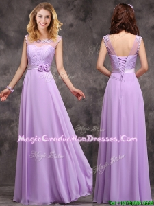 Popular See Through Applique and Laced Vintage Graduation Dress in Lavender