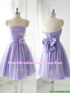 Simple Handcrafted Flower Tulle Lavender Vintage Graduation Dress with Strapless