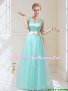 Delicate V Neck Floor Length Graduation Dresses with Bowknot for 2015 Winter