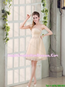 Sweetheart A Line Appliques Champagne Graduation Dress for 2015 Winter