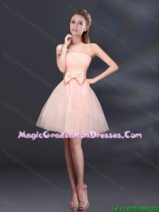 2015 Winter Bowknot A Line Strapless Graduation Dress with Lace Up