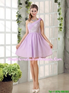 2015 Winter Luxurious Lilace One Shoulder A line Graduation Dress with Rushing