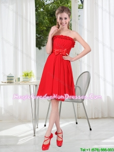 2015 Winter Luxurious Ruching Strapless Bowknot Graduation Dress in Red