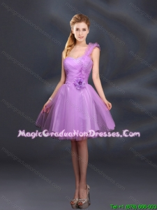 2016 Summer Popular Lilac Hand Made Flowers A Line One Shoulder Graduation Dresses