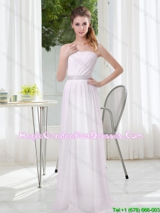 2015 Simple Empire Ruching Graduation Dresses in White