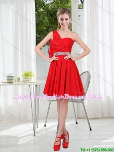 2015 The Most Popular One Shoulder A Line graduation Dresses with Ruching