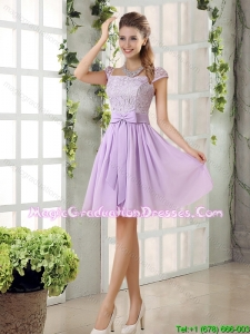 2015 Winter Chiffon Graduation Dress with Ruching Bowknot