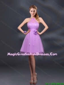 2016 Pretty Halter A Line Graduation Dresses with Hand Made Flowers
