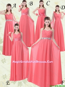 2016 Summer Cheap Exquisite Watermelon Graduation Dresses with Ruch and Beading