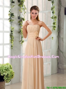 2016 Summer Perfect Champagne Ruching Chiffon Graduation Dresses with Sweetheart