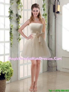 2016 Summer Perfect Ruching Strapless Princess Graduation Dress with Bowknot