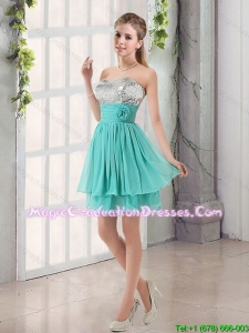 2016 Sweetheart A Line Graduation Dress with Sequins and Handle Made Flowers