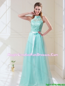 Elegant Empire Halter Top Laced Mint 2015 Graduation Dresses with Sash