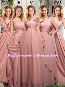 Empire Ruching 2015 Winter Sturning Graduation Dresses in Peach