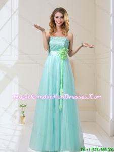 Sturning 2015 Empire Strapless Graduation Dresses with Hand Made Flowers