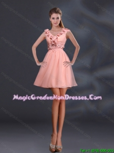 2015 Pretty Appliques and Ruffles A Line Graduation Dresses