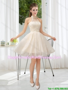 2015 Pretty Halter Appliques Lace Up Graduation Dress in Champagne