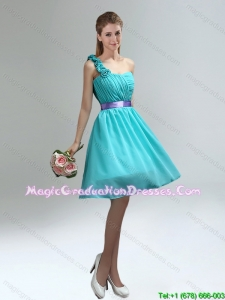 2016 spring pretty Unique One Shoulder Ruches Teal Graduation Dresses with Belt
