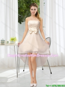 Luxurious Strapless A Line Graduation Dress with Belt and Lace