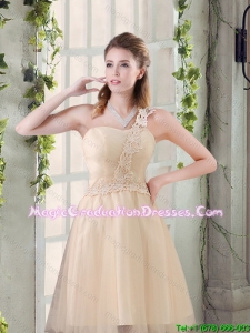 2016 Popular A Line Appliques Graduation Dress with One Shoulder