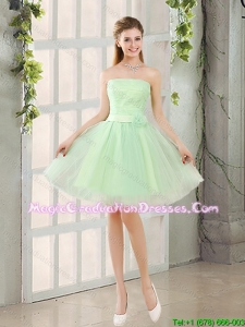 2017 The Most Popular Strapless A Line Graduation Dress with Lace Up