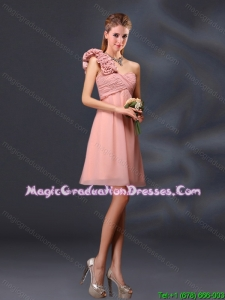 Hand Made Flowers and Ruching A Line Graduation Dresses for 2015
