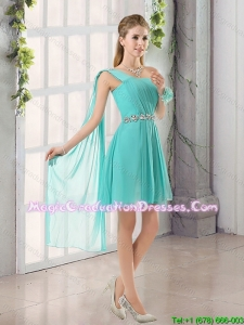One Shoulder A Line Beading and Ruching Graduation Dress with Lace Up