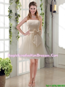 Popular Champagne Strapless Princess Bowknot Graduation Dresses for 2015