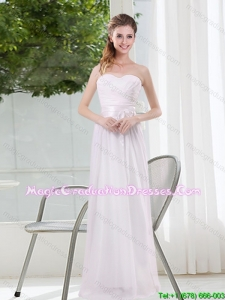 Ruching and Belt Sweetheart Empire White Graduation Dresses