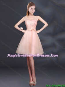 2015 Sturning A Line Belt Graduation Dress with Scoop