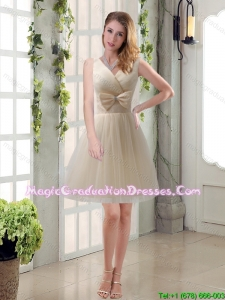 Beautiful Champagne Bowknot Princess Graduation Dresses with V Neck