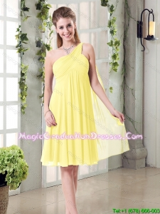 Lovely Inexpensive One Shoulder 2015 Graduation Dress with Scarf