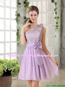 One Shoulder Lilac Graduation Dress with Bowknot for 2015