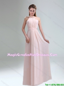 Romantic 2015 High Neck Chiffon Light Pink Graduation Dress