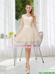 2015 Pretty Bateau Belt Mini Length Graduation Dress with Lace Up