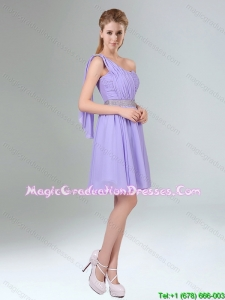 2015 Sassy Beaded and Ruched Short Graduation Dress in Lavender