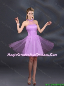 2016 Beautiful Lilac A Line Appliques Graduation Dresses with Halter