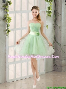 A Line Sweetheart Lace Up Graduation Dress in Apple Green