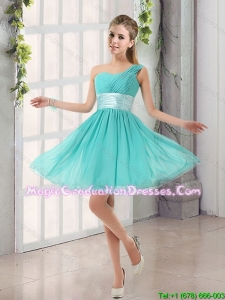 Natural One Shoulder A Line Ruching Lace Up Graduation Dress