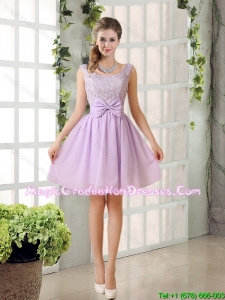 2015 Most Beautiful Chiffon A Line Graduation Dress with Bowknot